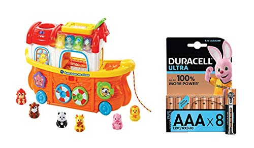 VTech Lot 504505 - Tut Tut Animo - Super Bateau des Animaux + Duracell Ultra Power Piles Alcalines Type AAA, 8 Piles