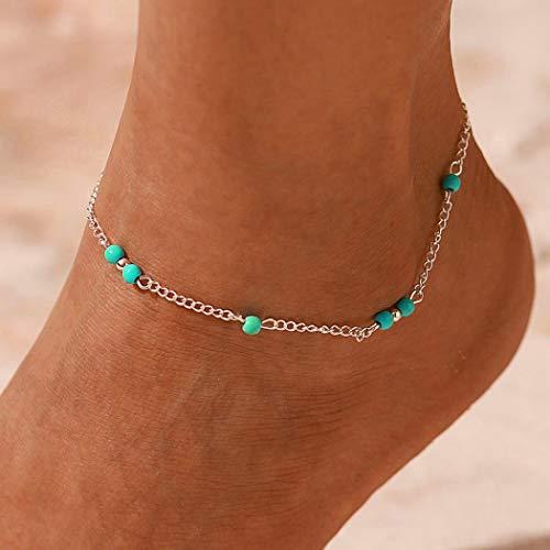 cavigliera donna turchese Edary Beach braccialetto alla caviglia Turchese Cavigliera argento in rilievo del piede di modo per donne e ragazze