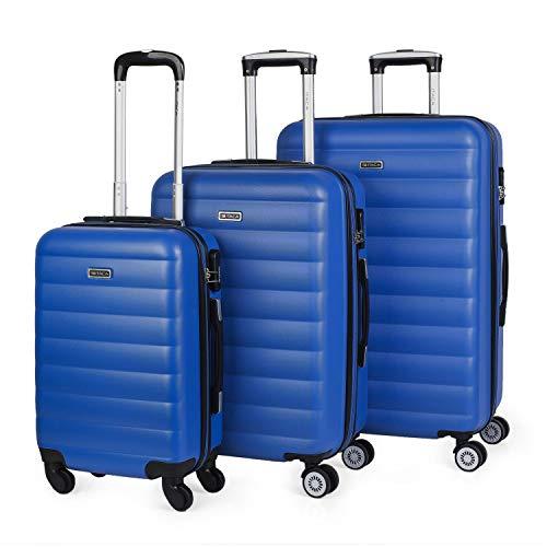 ITACA - Juego de Maletas de Viaje Rígidas 4 Ruedas Trolley 55/65/75 cm ABS. Extensibles. Cómodas Prácticas y Ligeras. 3 Tamaños Pequeña Mediana y Grande. Calidad y Precio. 71200, Color Azul