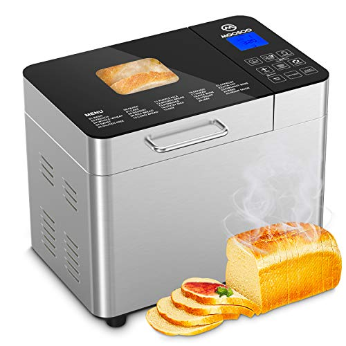MOOSOO 25-in-1 Bread Machine , 2LB Stainless Steel...