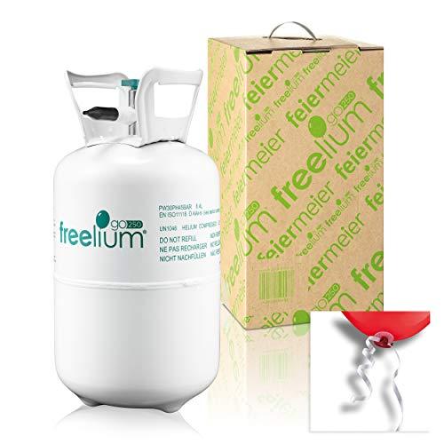 Freelium 250GO - Helium mit Ballonverschlussbändern Ballongas to Go Flasche mit 0,25 m³ / 250 Liter + inklussive 30x Ballonband für max. 30 Ballons Hochzeit, Firmenfeier, Feier & Geburtstag