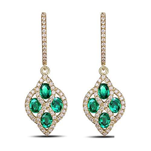 AMDXD 18 Karat Gold Damen Ohrringe Diamant Form Damenohrring Abendschmuck Gold mit Weiß Grün Diamant Tansanit