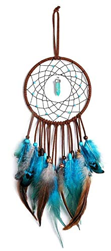 SiMin Azul Atrapasueños,Hecho a Mano Bosque Turquesa Atrapasueños Decoraciones de la Pared del Dormitorio Festival Artesanía Regalo