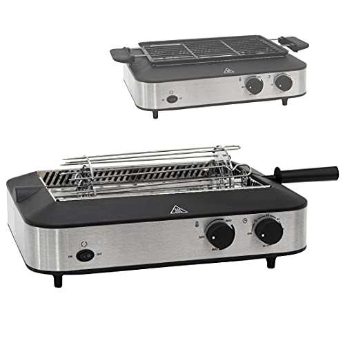 Ultratec Multi-Grill, mit Infrarot-Technologie für raucharmes Grillen, nutzbar mit Grillrost, Rotisseriespieß für Kebabfleisch etc., inkl. Kebabmesser & 6 Schaschlikspießen