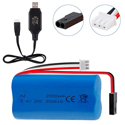 Hootracker 7.4V 2000mAh 20C Lipo Battery Pack Rechargeable with USB Cable 5500-2P Plug for MJX T640 F39 F49 T39 RC Aircraft Syma 822 RC Car