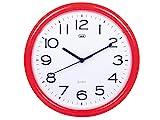 Trevi OM 3301 - Reloj de pared silencioso de 25,5 cm de diámetro con maquinaria de cuarzo, color rojo