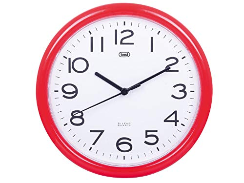 Trevi OM 3301 Orologio da Muro al Quarzo con Movimento Silenzioso Sweep, Diametro 24 cm, Rosso