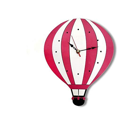 Wanduhr Cartoon Lautlos Kinder Wanduhr Lernuhr Wand Dekoration für Kinderzimmer Wohnzimmer Schlafzimmer (Heissluftballon Form)