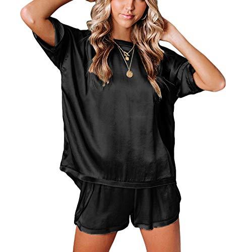 Pijamas para Mujer de Satén Conjuntos de 2 Piezas 1 Camiseta Manga Corta + 1 Pantalones Cortos Ropa para Dormir Mujer Entero Sexy (Negro, S)