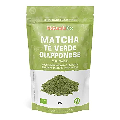 Té Verde Matcha Orgánico Japonés En Polvo - Grado Culinario - 50 gr. Matcha Biológico para Cocinar. Matcha Ecológico Cultivado En Japón, Uji, Kyoto. Ideal Para hornear, En a Cocina Y Con Latte