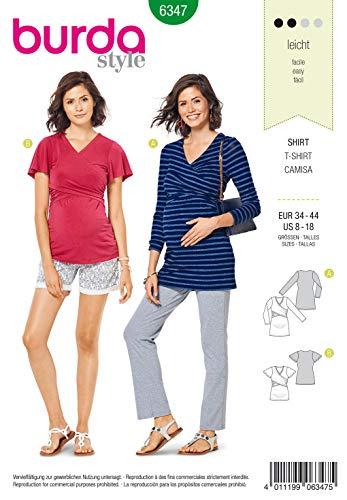 Burda Schnittmuster 6347, Umstands-Shirt [Damen, Gr. 34-44] zum selber nähen, ideal für Anfänger [L2]