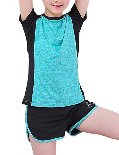 Echinodon Mädchen Sport Set Schnelltrockend Shirt + Shorts Anzug für Yoga Jogging Training Grün