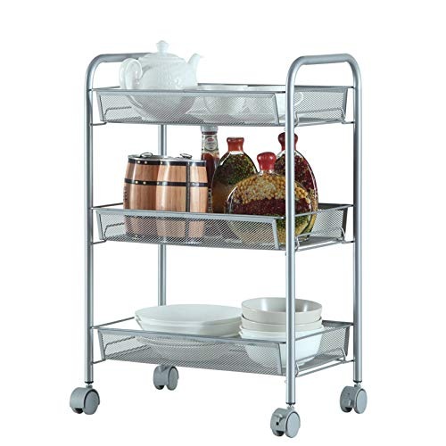 LeafRed C Honeycomb Mesh Style Removable Storage Cart Silver Shelves, Space Saver for Home, Office