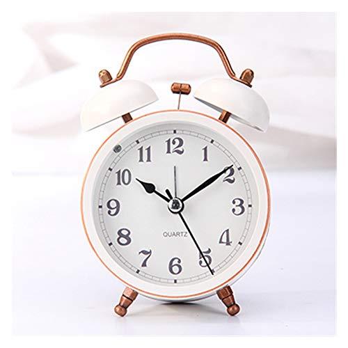 yywl Reloj Despertador Cama NIÑO Campana Grande Metal Pequeño Reloj de Alarma Cinturón Eye-Linterna Mute Reloj de Alarma Tumbado Moda Moda Reloj de Noche Reloj Despertador Reloj (Color : Pink)