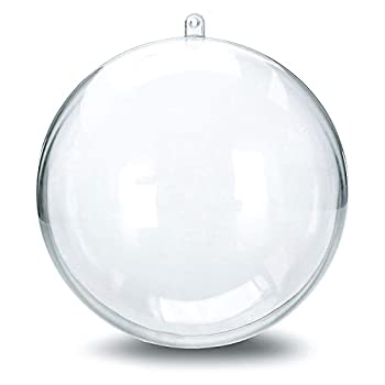"12 Clear Plastic Ball Fillable Ornament Favor 4"" 100mm"