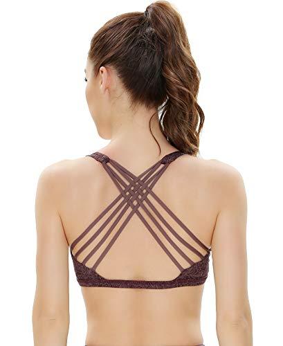 QUEENIEKE Damen Yoga Sport BH leichte Unterstützung Strappy frei BH Farbe Rosa Kreuz Größe XL(14)
