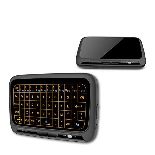 WSHA Mini Wireless Tastatur Air Mouse Vollbild Touch 2,4 Ghz QWERTY Tastatur Touchpad mit Backlight-Funktion Für Smart TV PS3, Android TV Box und Laptop