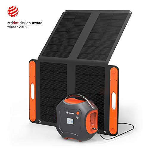 Jackery Portable Power Station Generator Kit Powerpro 500 with a 100W Solar Panel,Backup Power Source Lithium Battery Pack with 110V/300W AC Pure Sine Wave Inverter for Outdoor Camping CPAP Emergency