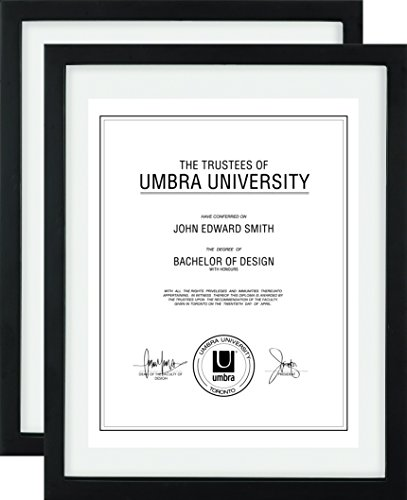 Umbra Floating Frame for Displaying Documents, Diploma, Certificate, Photo or Artwork, 11 x 14 8-1/2 x 11, Black, 2 Count