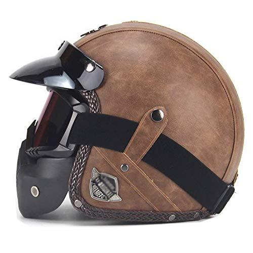Casco Jet Moto Vintage con Máscara De Gafas Desmontables, Casco Integral A...