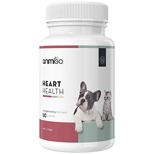 Animigo Corazón Saludable de Gatos y Perros | Suplemento Natural Cardiovascular | Salud del Corazón y Bienestar General de Mascotas | con Vitaminas, Co Q10, L-Carnitina y Taurina | 90 Cápsulas