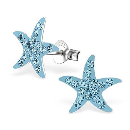 GH1a Aquamarin Kristall Seestern Ohrstecker 925 Echt Silber Ohrringe Mädchen Kinder Stern