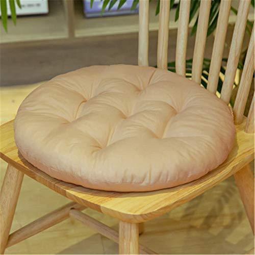 SWECOMZE Lot de 2 coussins d'assise pour chaise de jardin - Pour intérieur et extérieur - Rond - 40 x 40 cm - Beige