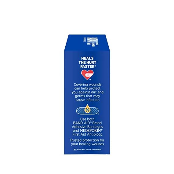 Johnson & Johnson Band-Aid Brand Flexible Fabric Adhesive Bandages for Wound Care and First Aid, All One Size, 100 Count… 10 100-count Band-Aid Brand Flexible Fabric Adhesive Bandages for first aid and wound protection of minor wounds, cuts, scrapes and burns Made with Memory-Weave fabric for comfort and flexibility, these bandages stretch, bend, and flex with your skin as you move, and include a Quilt-Aid comfort pad designed to cushion painful wounds which may help prevent reinjury These Band-Aid Brand Flexible Fabric adhesive bandages stay on for up to 24 hours and feature a unique Hurt-Free Pad that won't stick to the wound as they wick away blood and fluids, allowing for gentle removal