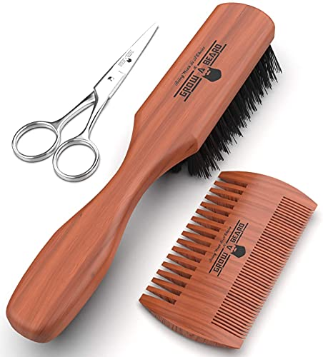 Beard Brush Stiff Boar Bristles | Beard Comb & Mustache Scissors Presented in Premium Gift Box