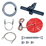 CTSC 95 Foot Zip Line Kit for Kids and Adult with Stainless Steel Spring Brake and Seat, Zipline for Backyard Entertainment Equipment, Perfect Backyard Toy, A Surprise Gift for Children