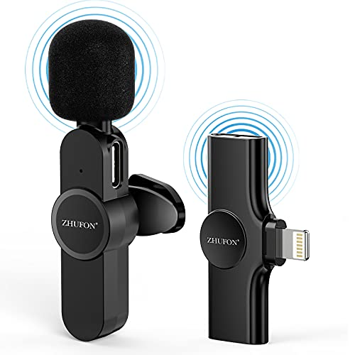ZHUFON Plug & Play Wireless Microphone for iPhone, Lavalier Microphone Wireless for Phone Video Recording, YouTube Facebook Live Stream, Auto-syncs Mic for Vloggers, Interview, NO APP or Bluetooth