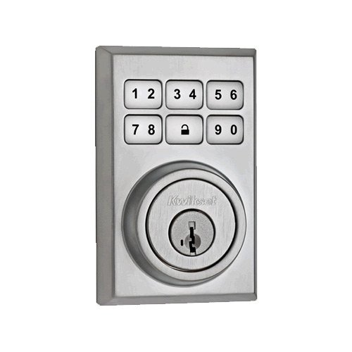 Kwikset 910 Z-Wave Contemporary SmartCode Electronic Touchpad Deadbolt, featuring SmartKey in Satin Chrome, Works with Alexa via SmartThings or Wink