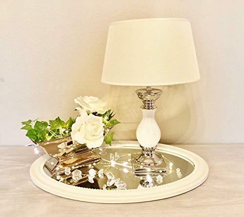 DRULINE Tischlampe Lampe Nachttisch leuchte mit Schirm Klassische Dekoration fürs Schlafzimmer | Wohnzimmer | Esszimmer| aus Keramik Klein | L x B x H 17 x 17 x 33 cm | Weiß Silber Creme