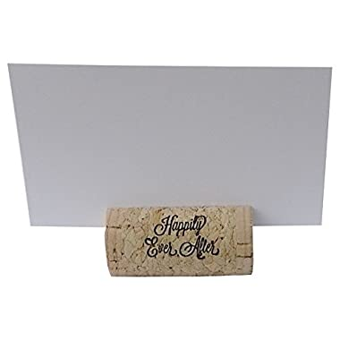 Wine Cork Place Card Holders Custom Cork Card Holder  Happily Ever After  set of 25 Includes Place Cards Escort Card Rustic Wine Cork Table Décor Wine Theme Vineyard Wedding Cork Placecard