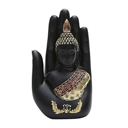 Cirdora Estatua De Buda Pequeña Escultura Tallada A Mano De Figura Buda Escultura De Mano De Buda, Estatua Buda Sentado para Jardín O Salón, Resina Sintética,polirresina,10,5 X7 X 18 C