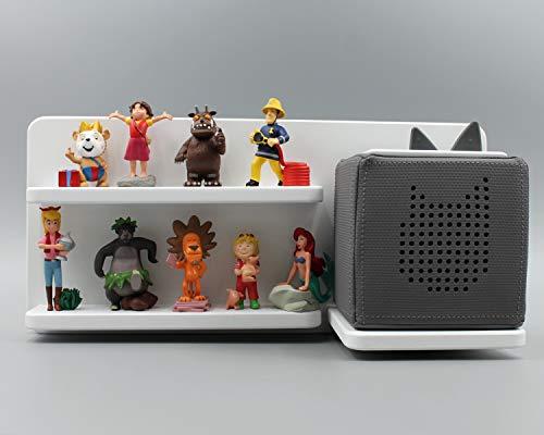 Kinder Regal für Toniebox Musikbox - Wunschname Name - Geeignet für Tonie Tonies ® - zum Aufhängen weiß - klein - magnetisch - als Geschenk - tolle Geschenkidee zum Spielen und Sammeln