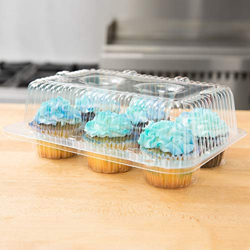10 Cupcake Containers Plastic Disposable | High Dome Cupcake Boxes 6 Compartment Cupcake Holders Disposable Cupcake Carrier | Half Dozen Cupcake Trays | Durable Cup Cake Muffin Packaging Transporter