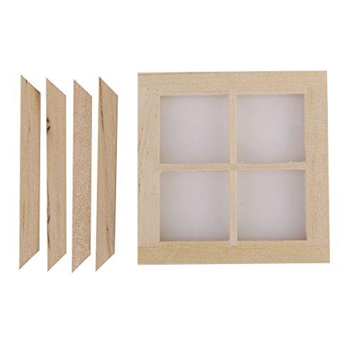 Puppenhaus Miniatur Holz 4 Glasfenster DIY