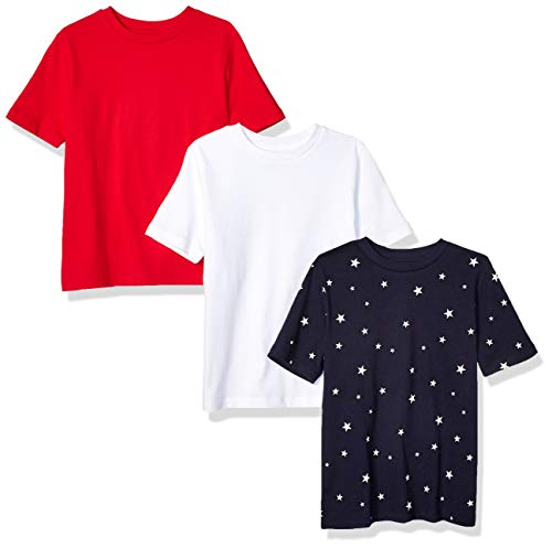 Amazon Essentials – Camiseta de manga corta para niño (3 unidades), Star/Red/White, US M (EU 128 CM)