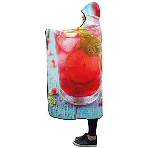Henry Anthony 60X50 Zoll Kapuzen Decke kalte hausgemachte Limonade Granatapfel Minze Limette Decke Comfotable Hooded Throw Wrap