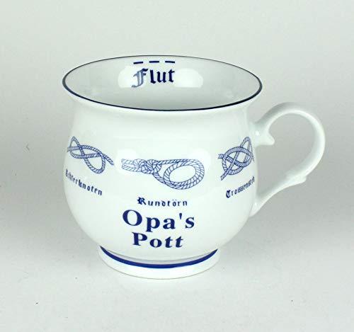 Opa's Pott mit Seemannsknoten bauchig Becher Kaffeebecher Teebecher