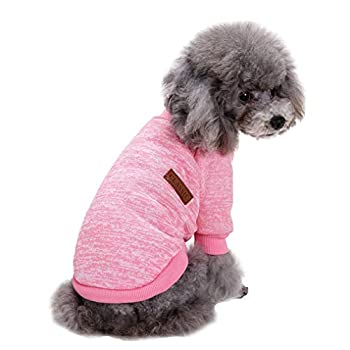 Jecikelon Pet Dog Clothes Knitwear Dog Sweater Soft Thickening Warm Pup Dogs Shirt Winter Puppy Sweater for Dogs  Pink L