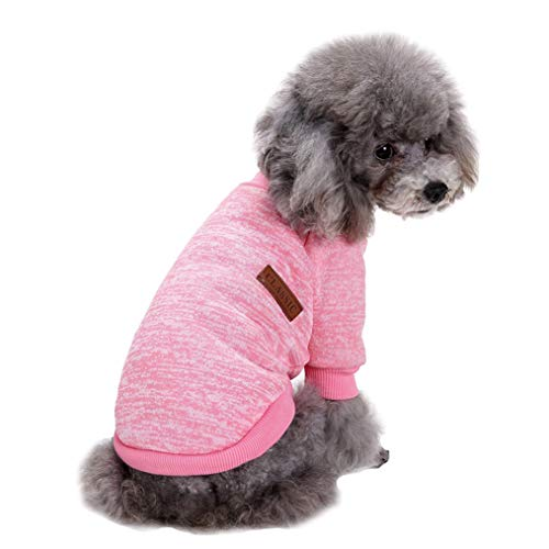 Pet Dog Clothes Knitwear Dog Sweater Soft Thickening Warm Pup Dogs Shirt Winter Puppy Sweater for Dogs (Pink, XS)