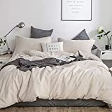 Simple&Opulence French Linen Duvet Cover Set - Twin Size(68' x 86')- 2 Pieces (1 Comforter Cover,1 Pillowcase)- Natural Flax Cotton Blend-Solid Color Breathable Farmhouse Bedding-Linen/Beige
