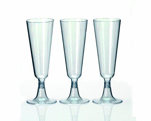 Kunststoff - Plastik Sektglas Fuß 24 Stück klar Sektflöte