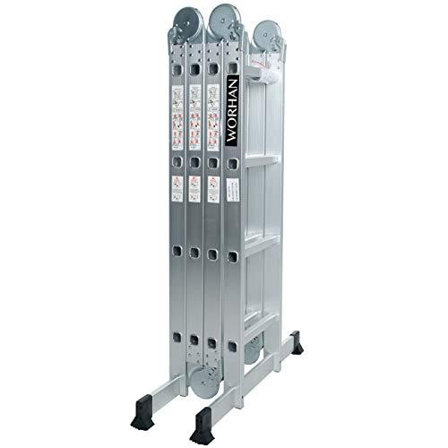 WORHAN® 4.6m Escalera Multiuso Multifuncional Plegable Tijera Bisagra Grande Aluminio con 2 Estabilizadores Nueva Generación Calidad Alta KS4.6