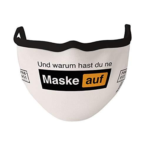PHRASE 1 by FotoPremio Mundschutz Maske 3-lagig mit Spruch - Warum hast du ne Maske auf | Gesichtsmaske bis 60°C waschbar und wiederverwendbar | Atemmaske hergestellt in der EU
