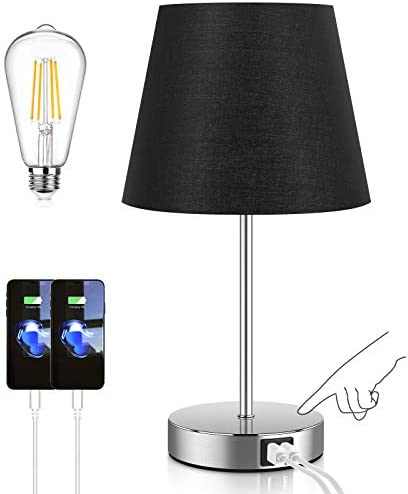 Touch Control Table Lamp with 2 USB Ports and AC Outlet 3 Way Dimmable Modern Bedside Nightstand product image