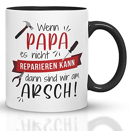 Kaffeebecher24 - Tasse mit Spruch - Wenn Papa es Nicht reparieren kann - Spülmaschinenfest Geschenke für Papa - Tasse lustig - Geburtstagsgeschenk für Männer (Schwarz-Rot)