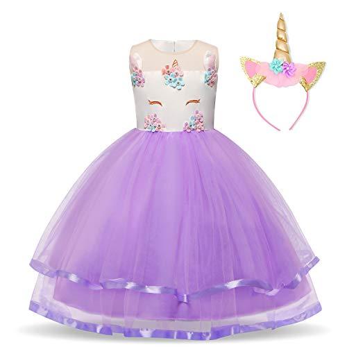 Vestido Unicornio De Niñas Hermosos Apliques de Volantes Disfraz de Fiesta fantástica + Headwear Talla (110) 3-4 años Púrpura